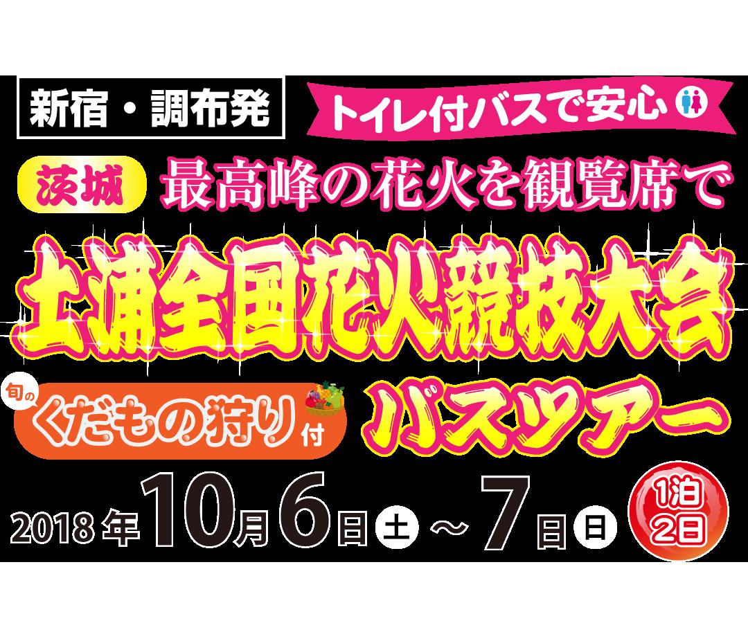 [土浦の花火2018] 土浦全国花火競技大会バスツアー(1泊2日: 10/6(土)~7(日))